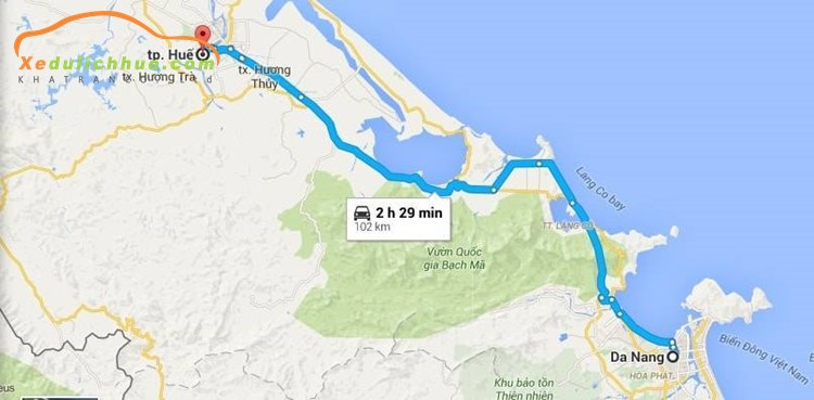 Từ Đà Nẵng đi Huế bao nhiêu km?